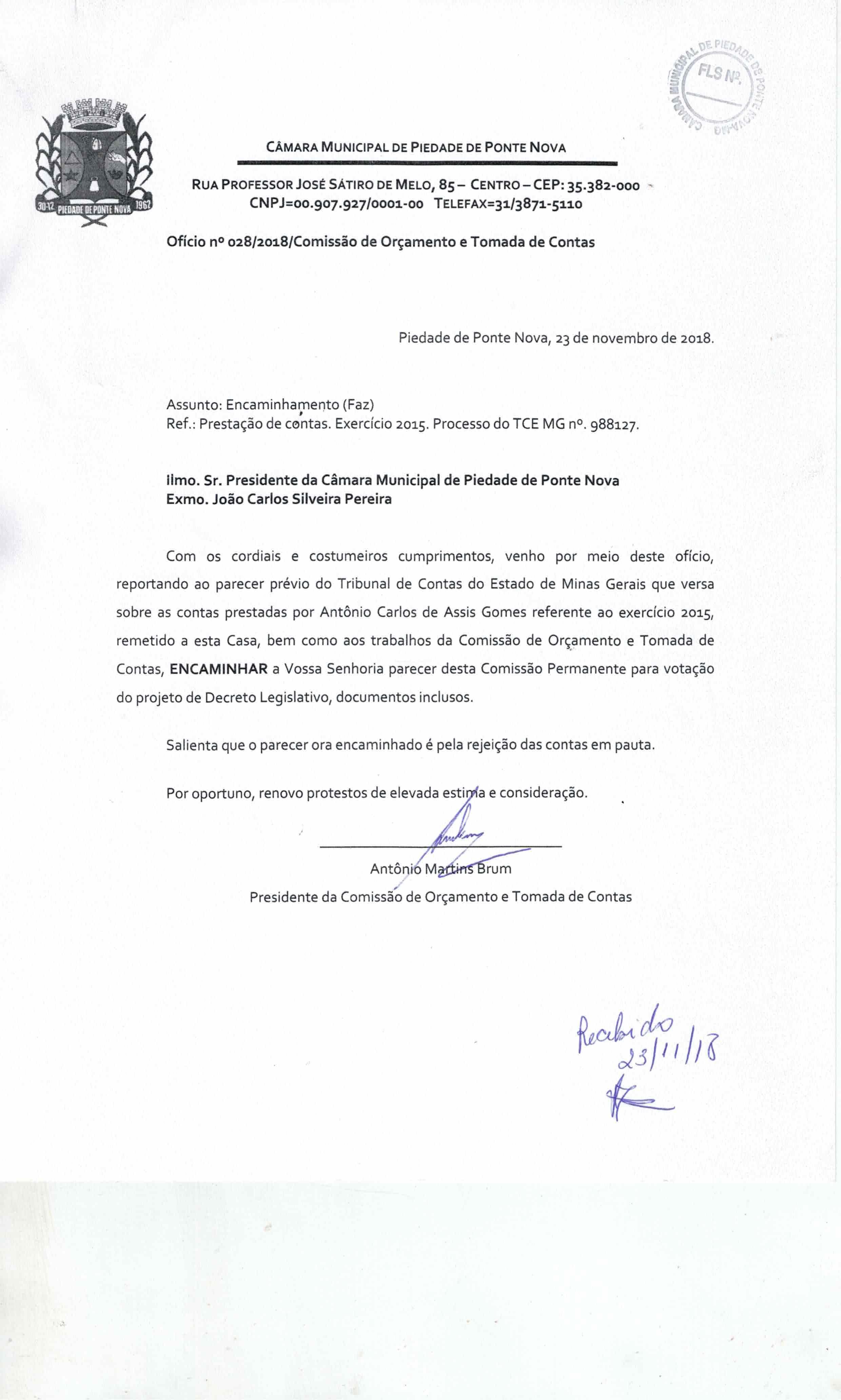 REUNIÃO EXTRAORDINÁRIA 27/11/2018